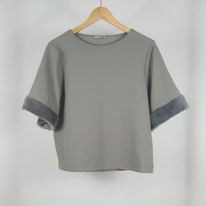 ZARA Collection Boxy Top w Faux Fur Sleeves